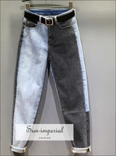 Women High Waist Straight Leg Two Tone Black and Washed Blue Denim Jeans SUN-IMPERIAL United States