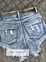 Women High Waist Washed Denim Shorts