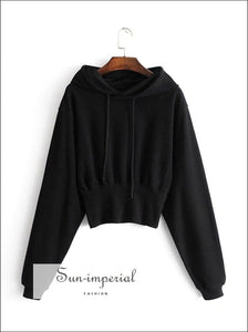 Women Inside out Crop Hoodie with Width Ribbed Trims Hooded Sweatshirt Pullovers