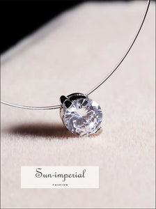 Women Invisible Fish Line Necklace Zircon Crystal Pendants SUN-IMPERIAL United States