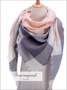 Women Knitted Scarf Plaid Warm Cashmere Scarves Shawls Pashmina Wrap SUN-IMPERIAL United States