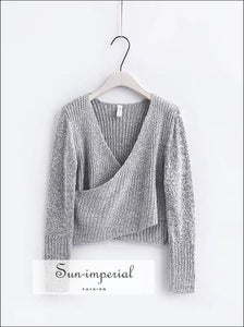 Women Knitted Wrap Long Sleeve the Shoulder Crisscross front Warp Sweater