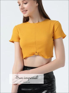 Women Knot Hem Short Sleeve Rib Crop Tee with Ruffled Trimmings top BASIC SUN-IMPERIAL United States