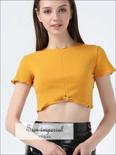 Women Knot Hem Short Sleeve Rib Crop Tee With Ruffled Trimmings Rib Crop Top BASIC SUN-IMPERIAL United States