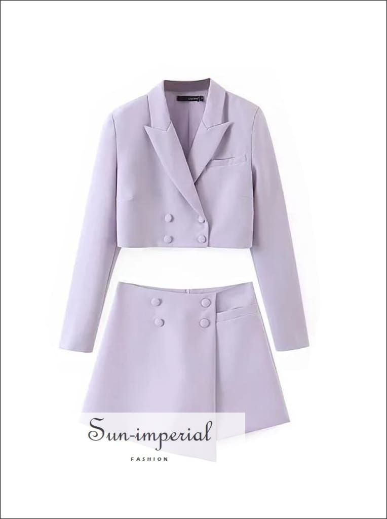 Women Lavender Two Piece Cropped Blazer and Wrap High Waist Mini Skirt Set chick sexy style, elegant style SUN-IMPERIAL United States