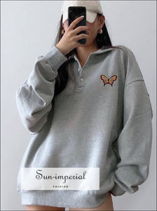 Women Light Grey Polo Neck Embroidery Butterfly Oversized Sweatshirt Basic style, sporty street style SUN-IMPERIAL United States