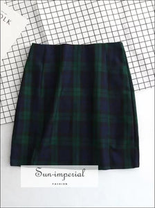 Women Lightweight Navy Blue And Forest GreenPlaid Print Mini Skirt With Two Small Front Slits BASIC SUN-IMPERIAL United States