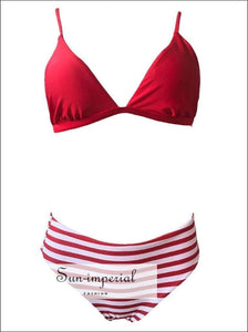 Women Low-cut Beach Swimwear Fashion Two-piece High Waist Bikini Set Solid Color Push-up Bra Strap