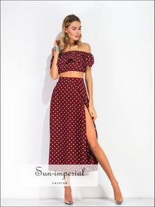 Women maxi skirt set - Off Shoulder Red Vintage polka Dot Print Chiffon Ruffle crop Top Blouse + Maxi split Skirt SUN-IMPERIAL United States
