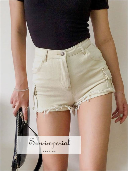 Women Mid-rise Waist Slim Fitted denim Cargo Shorts With Raw Cut Hem BASIC denim cargo shorts DENIM SHORTS SUN-IMPERIAL United States