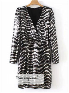 Women Mini Dress Zebra Animal Print Sequin Dress V-neck Long Sleeve Dress