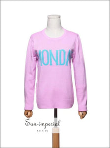 Women Monday to Sunday Embroidered Letters 7 Colors Sweater Pullovers Autumn Long Sleeve Knitted