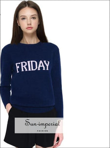 Women Monday To Sunday Embroidered Letters 7 Colors Sweater Pullovers Autumn Long Sleeve Knitted Tops BASIC SUN-IMPERIAL United States