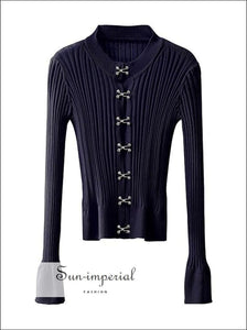 Women Navy Blue Ribbed Long Sleeve Cardigan top with Hook and Eye front casual style, harajuku Preppy Style Clothes, PUNK STYLE, street