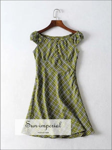 Women off Shoulder Bardot Mini Dress in Green Check Print Petite Size