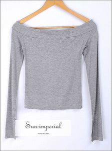 Women off Shoulder Tops with Split Long Sleeve the T-shirt in Rib BASIC SUN-IMPERIAL United States