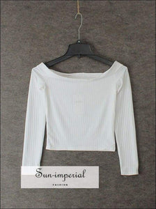 Women off the Shoulder Bardot Ribbed Crop Tee Slash Neck Crop Tops