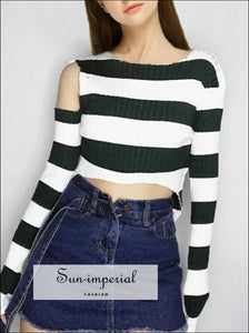 Women One Cold-shoulder Striped Crop Knit top Long Sleeve Stripes Crop Sweater Pullovers