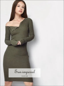 Women One Shoulder Bodycon Mini Dress Front Buttons Rib Dresses Long Sleeve BASIC SUN-IMPERIAL United States