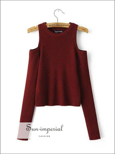 Women Open Shoulder Ribbed Knit Tops Pullovers BASIC SUN-IMPERIAL United States