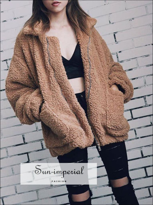 Women Oversize Teddy Faux Fur Coat Warm Soft Fur Casual jacket with Zipper and front Pocket SUN-IMPERIAL United States