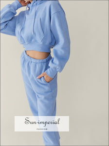Sun-imperial Women Pale Blue Cropped Drop Shoulder Kangaroo Pocket Fleece Hoodie Sweatshirt & 2 piece set, activewear, get active, sporty,