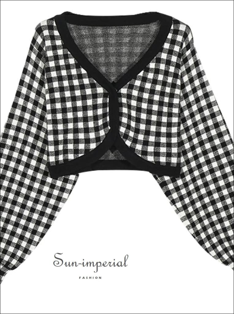 Women Pale Blue Volume Sleeved Check Pattern Crop Plaid Cardigan chick sexy style, street vintage style SUN-IMPERIAL United States