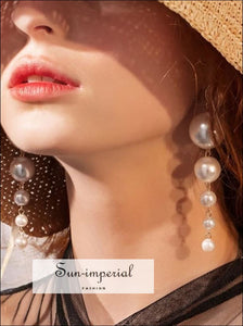 Women Pearl Drop Earrings elegant style, unoque vintage style SUN-IMPERIAL United States
