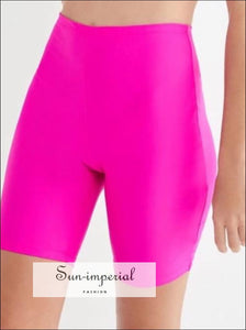 Women Pearly Legging Shorts High Waist Cycling Shorts Fluorescence Color Shorts