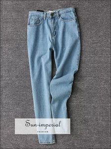Women Pencil Denim Pants High Waist Jeans Boyfriend Fit Light Blue SUN-IMPERIAL United States