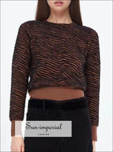 Women Petite Connection Jumper in Green Leopard & in Brown Zebra-stripe with Rib Hem and Cuffs