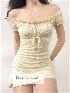 Women Petite Crochet Lace Dress Lovely Mini vintage SUN-IMPERIAL United States