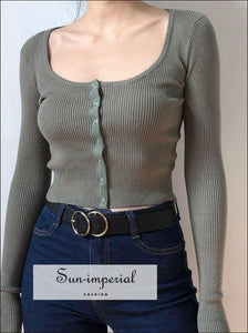 Women Petite Fine Knit Cardigan With Buttons Scoop Neck Cardigan In Skinny Rib With Buttons SUN-IMPERIAL United States