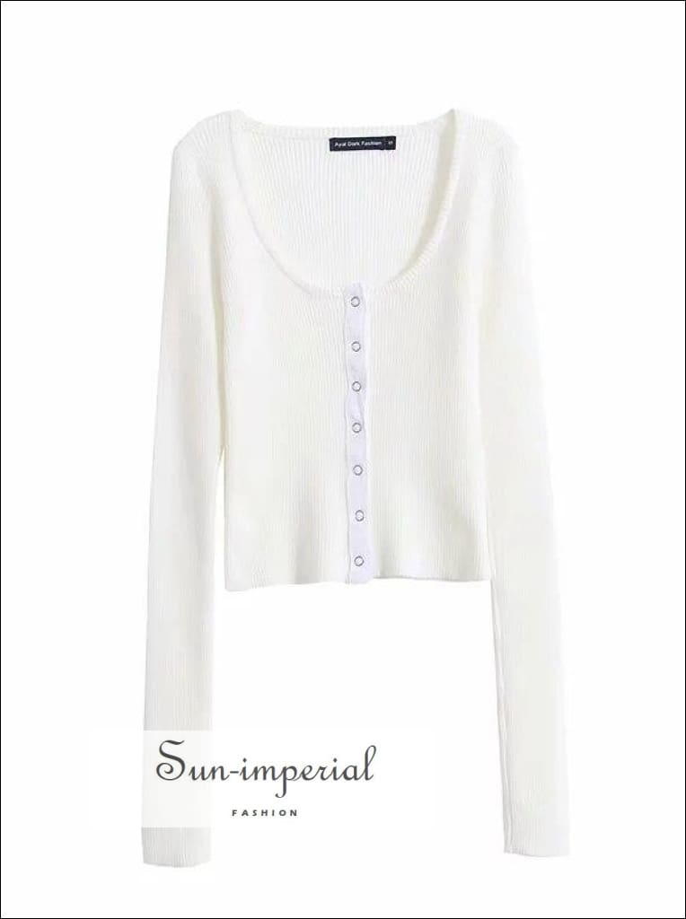 Women Petite Fine Knit Cardigan with Buttons Scoop Neck Cardigan in Skinny Rib with Buttons