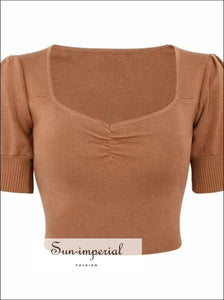 Women Petite Puff Sleeve Knit top Sweetheart Neck Ruched front Crop Knitting top