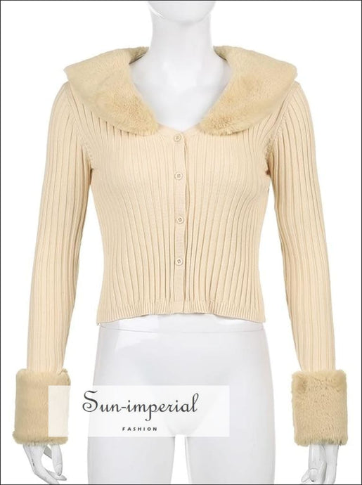 Women Pink Plush Faux Fur Collar and Cuff Knit Cropped Cardigan best seller SUN-IMPERIAL United States