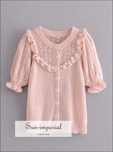 Women Pink Short Sleeve Cardigan Sweater O Neck Knitted top with Pearls detail chick sexy style, vintage style SUN-IMPERIAL United States