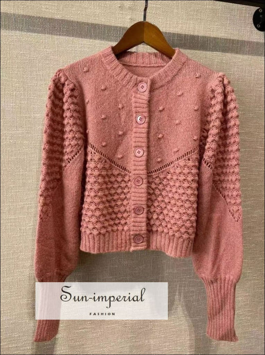 Women Pink Vintage Single Breasted Cardigan Wool Blend Long Sleeve O-neck Sweater vintage style, WOMEN VINTAGE PINK CARDIGAN SUN-IMPERIAL