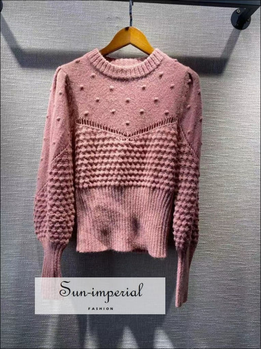 Women Pink Vintage Wool Blend Long Sleeve O-neck Sweater bohemian style, boho bsic casual harajuku style SUN-IMPERIAL United States