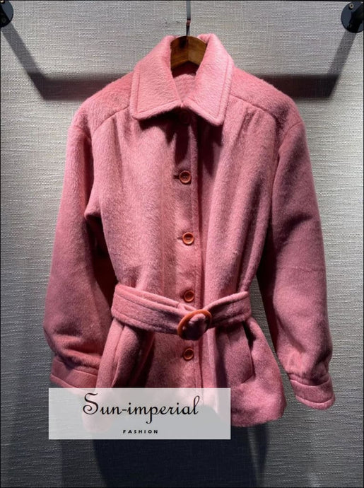 Women Pink Wool Blend Long Sleeve Single Breasted Coat with Turn-down Collar and Belt casual style, Preppy Style Clothes, Unique vintage