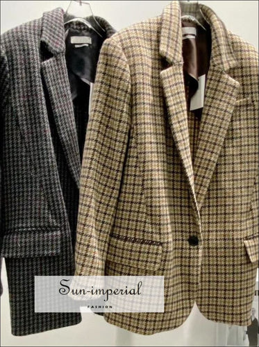 Women Plaid Retro Casual Wool Long Sleeve Blazer Coat Bohemian Style, casual style, elegant harajuku vintage style SUN-IMPERIAL United
