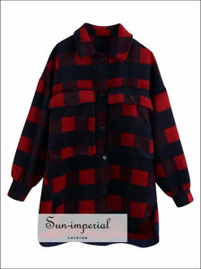 Women Plaid Woolen over Sized Shirt Jacket with Turn-down Collar and Pockets detail street style, Streetwear SUN-IMPERIAL United States
