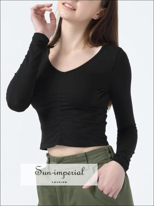 Women Plunge Neck Shirred front Tee with Long Sleeve Crop top