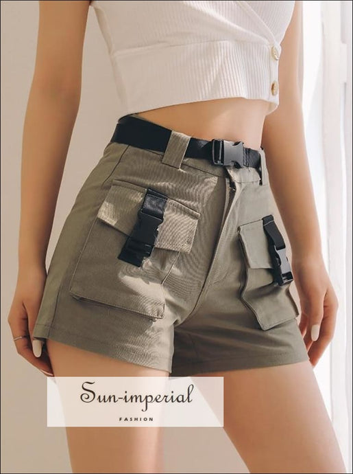 Women Pockets front Cargo Shorts with Belt
