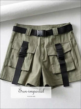 Women Pockets Front Cargo Shorts With Belt BASIC belted shorts short cargo pants SUN-IMPERIAL United States