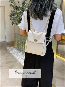 Women Pu Leather Chain Shoulder Bag Fashion Backpack elegant style, harajuku Preppy Style Clothes, Unique vintage style SUN-IMPERIAL United