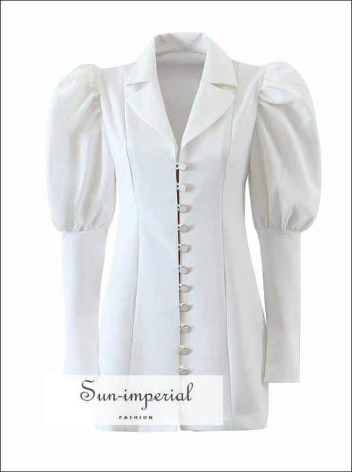 Women Puff Long Sleeve Elegant Blazer Mini Dress with front Buttons and Turn Down Collar detail elegant style, harajuku Unique vintage white
