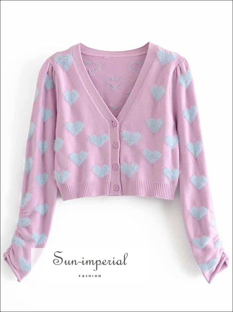Women Purple Sweater with Teal Hearts Print and Knitted Crop Cami top Cardigan Set SUN-IMPERIAL United States