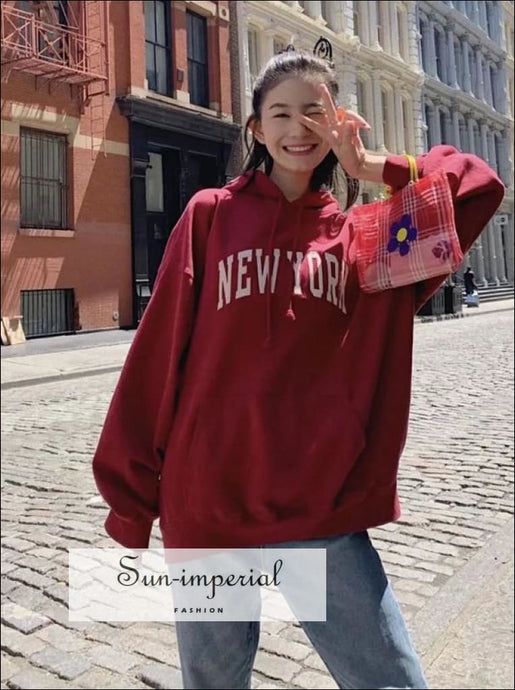 Women Red Embroidery Ny Printed Letters Oversized Hoodie Hooded Sweatshirt street style SUN-IMPERIAL United States