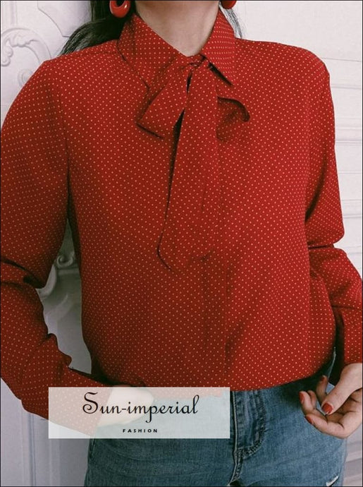 Women Red Holiday Polka Dot Print Blouse with Tie Neck Vintage top SUN-IMPERIAL United States